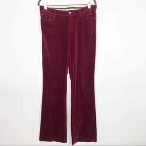 Theory Red Velvet Bootcut Pants